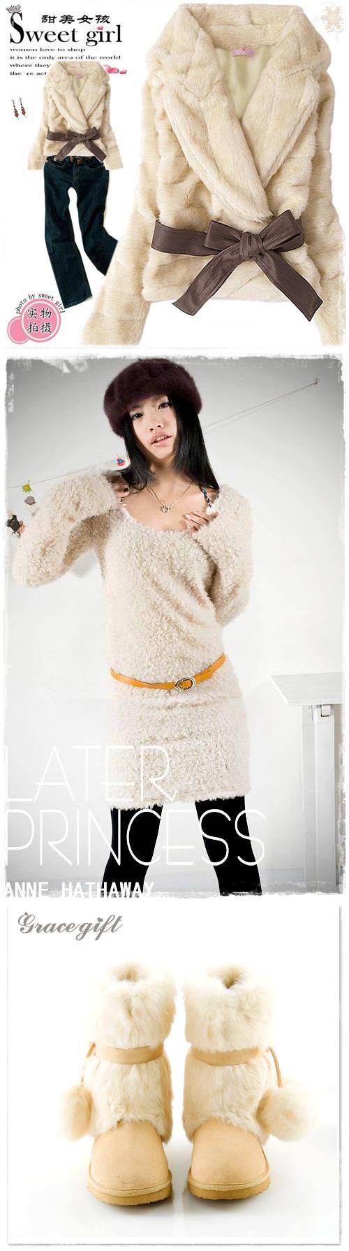 japon style sweet girl tavşan kürklü deri kemerli mont yün elbise tunik ponponlu ugg tarzı kuzu derisi kar botu