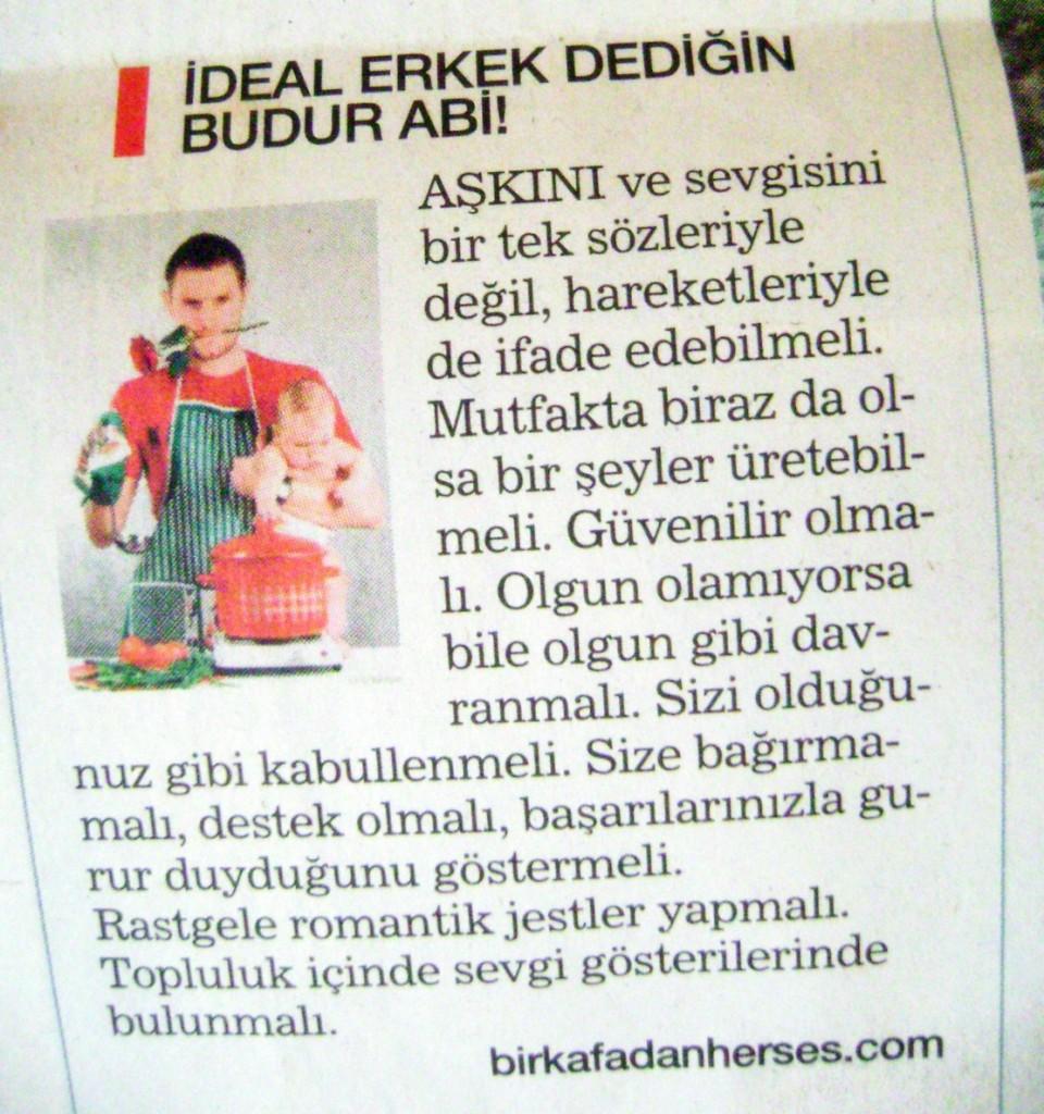 habertürk gazetesi web günlüğü blog köşesi birkafadanherses ideal erkek budur abi yazısı