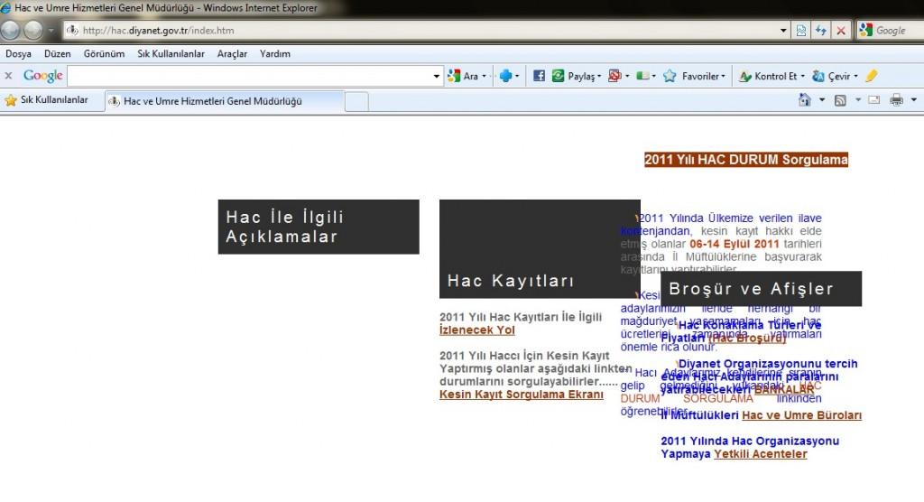 diyanetin hac sitesindeki bozuk sayfalar