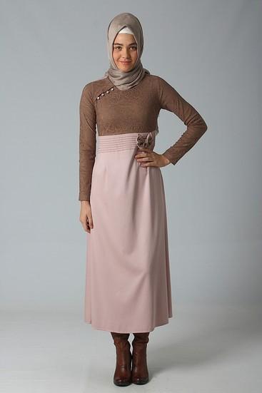 elegance pudra vizon elbise