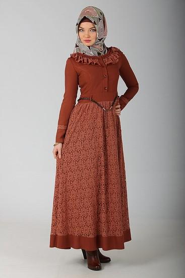 yeni moda tuğba kiremit rengi elbise