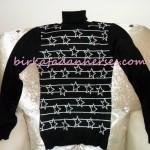 koton yıldız desenli siyah kazak