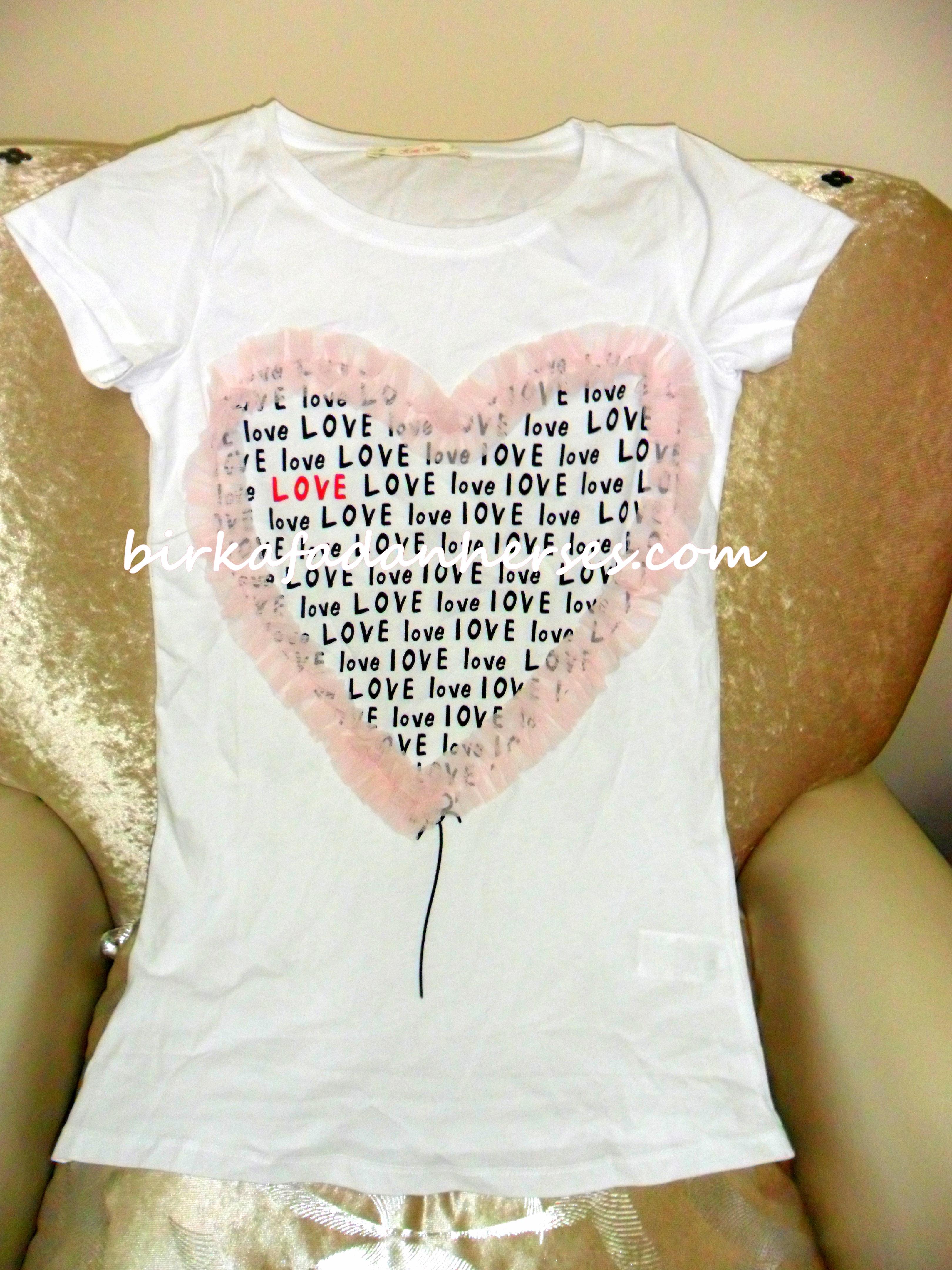 ole ev giyim love pembe kalpli tişört