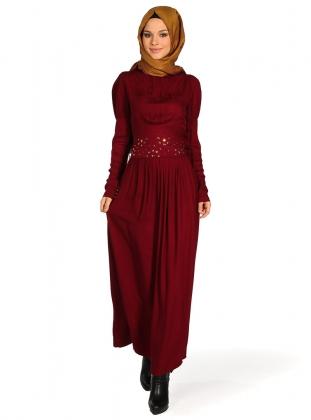 bordo günlük elbise