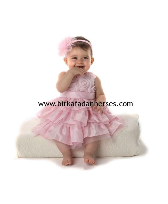 tüllü pembe kız bebek elbiseleri