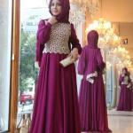 Pınar Şems 2014 dantelli fuşya abiye tesettür elbise 445 lira