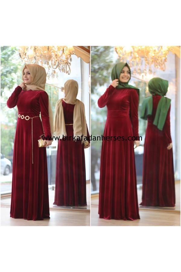 Pınar Şems bordo kadife abiye elbise fiyatı 200 lira