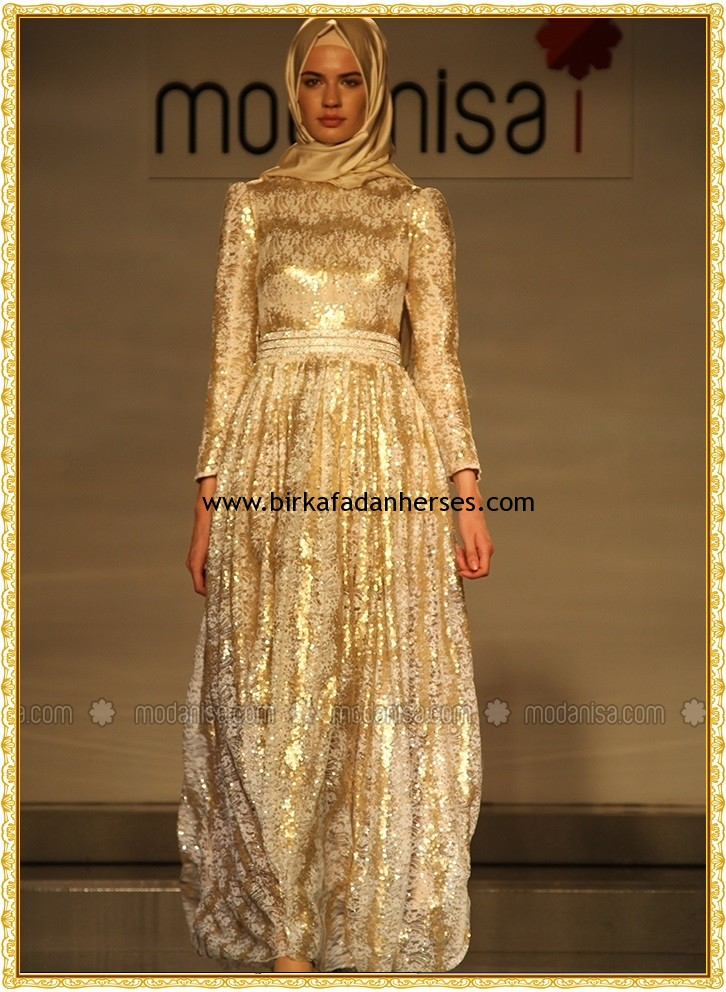 turkish gold hijab abaya style fashion 2014