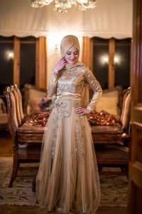 2015 gold tesettür nişan elbiseleri