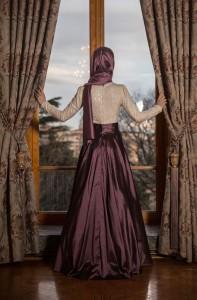 Gamze Polat 2015 tafta tesettür nişan kıyafeti