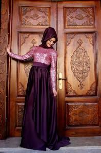 Gamze Polat tasarımı pembe mor tesettür nişan elbiseleri