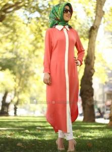 şeftali rengi uzun gömlek tunik 2015 yaz