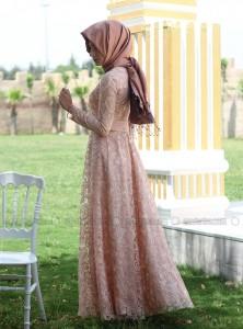Boydan simli güpür dantel beli drapeli nurbanu kural tesettür abiye elbise