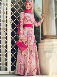 Gamze Polat 2015 Şal Desenli Boydan Krep Elbise