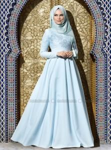 açık mavi mint yeşili kloş tesettür elbise muslima wear
