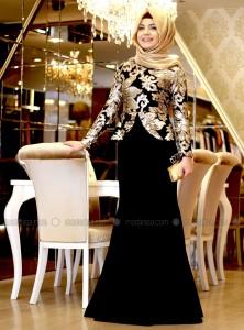 bayramlık tesettür peplum kalem elbise pınar şems