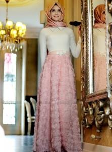 gül aplikeli kloş lase etekli gamze polat 2015 pudra pembe abiye elbise