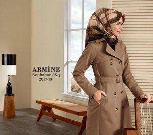 Armine 2018 kış vizon rengi trençkot modelleri