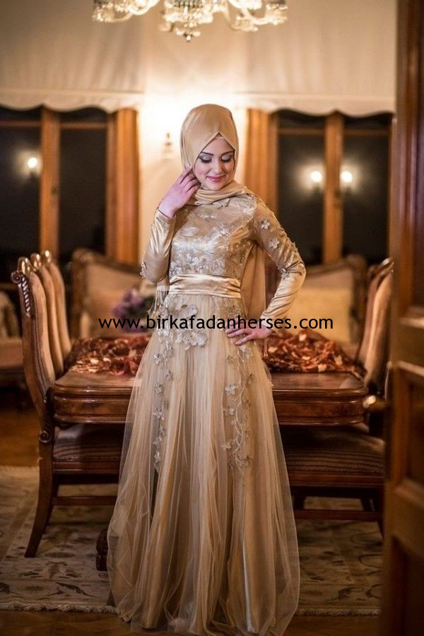 7b5f6434241a0 2015 gold tesettür nişan elbiseleri | Bir Kafadan Her Ses