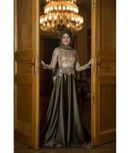Gamze Polat 2015 haki gold abiye elbise